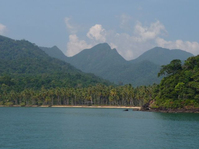 Wai Chaek beach on the south coast of koh Chang, seen from the sea in February