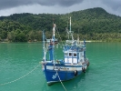 Fishing boat moored on the ewast of Koh Chang in September