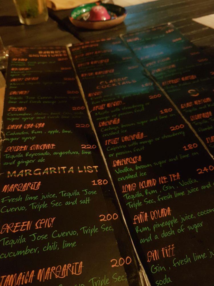 Cocktail menu at Barrio Bonito, Koh Chang