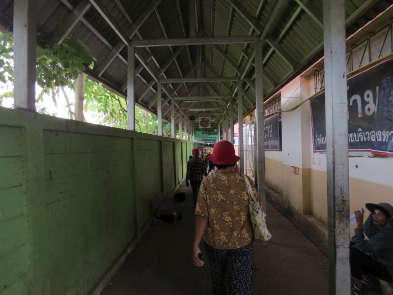 Covered walkway, down here to exit Thaiand