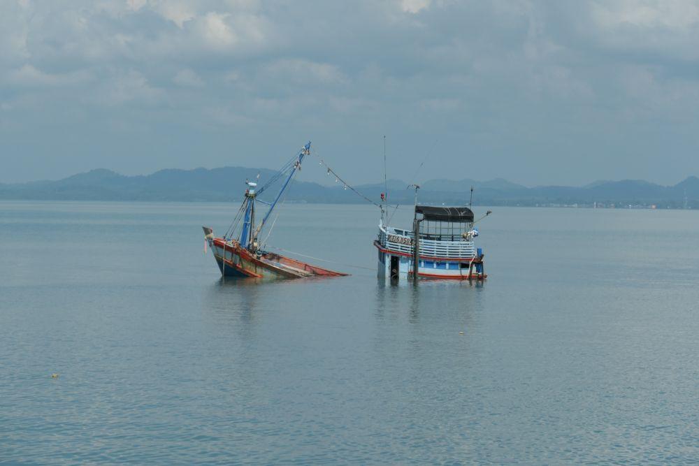 Cambodian fishing boat sunk.