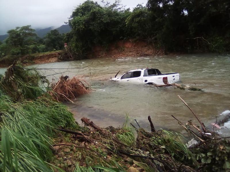 Pick up truck washed away