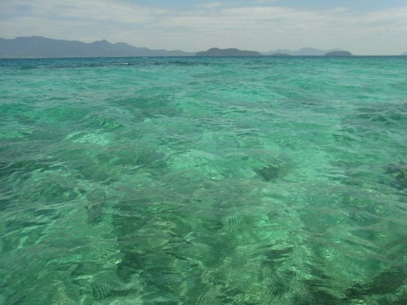 Clear water at eastern tip of the island