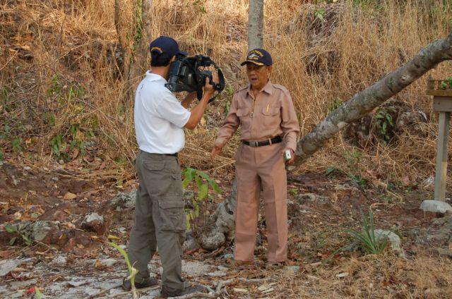 Survivor being interviewed