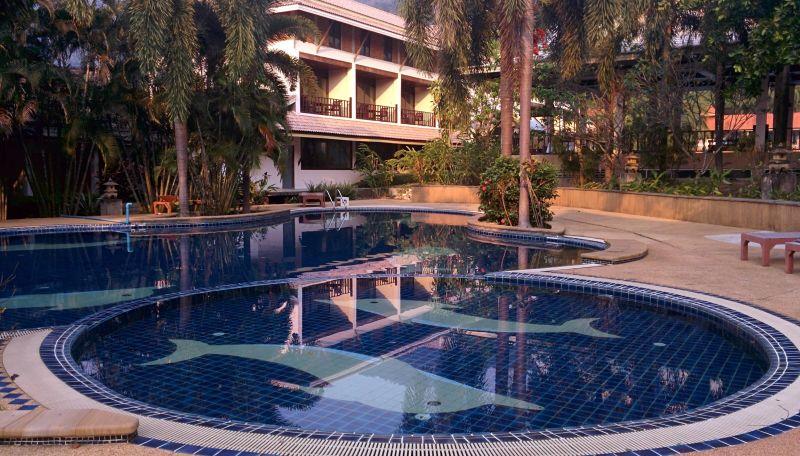Beachfront pool at the Resortel