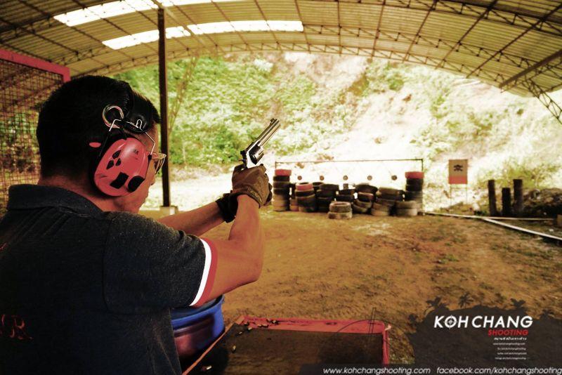 Indoor target practice at Koh Chang Shooting Range
