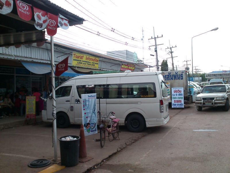 Minibuses waiting for pasengers coming from Cambodia