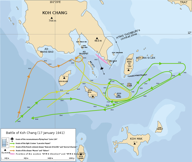 Plan of the battle of Koh Chang 1941