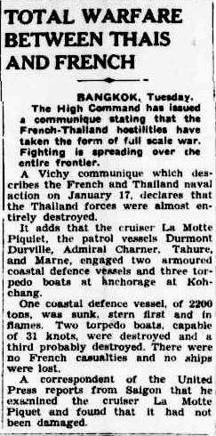 Battle of Koh Chang newspaper report 1941