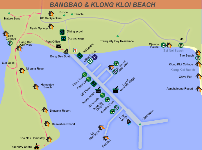 Map of Bangbao fishing village, Koh Chang