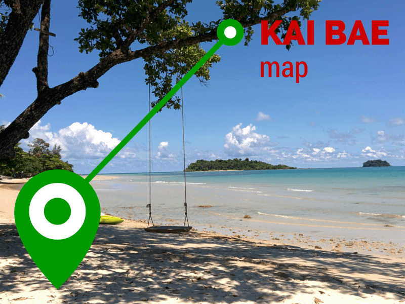 Locations of resorts and restaurants on Kai Bae beach, Koh Chang