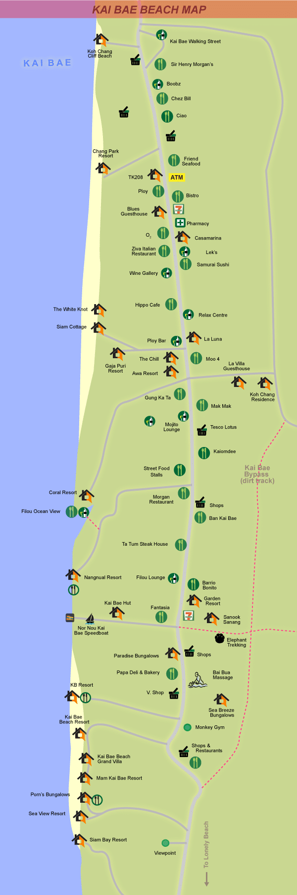 Map of Kai Bae beach, Koh Chang
