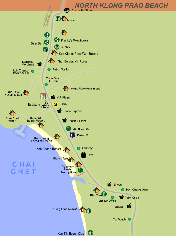 Klong Prao map and Chai chet map of hotels, shops and restaurants