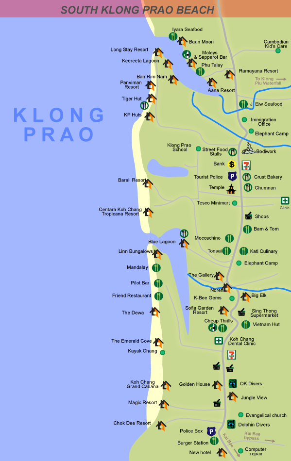 South Klong Prao beach map