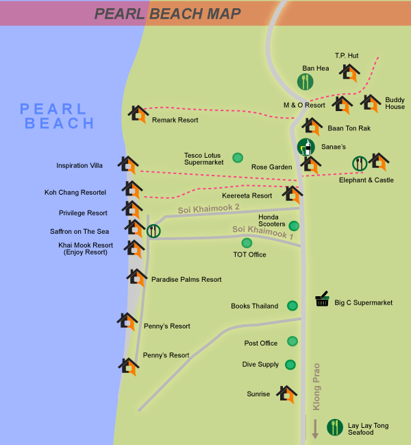 Visitor map of the Pearl beach area, Koh Chang