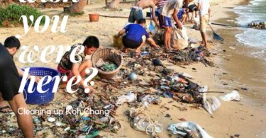 Vlunteers Cleaning up Garbage on Koh Chang Beaches