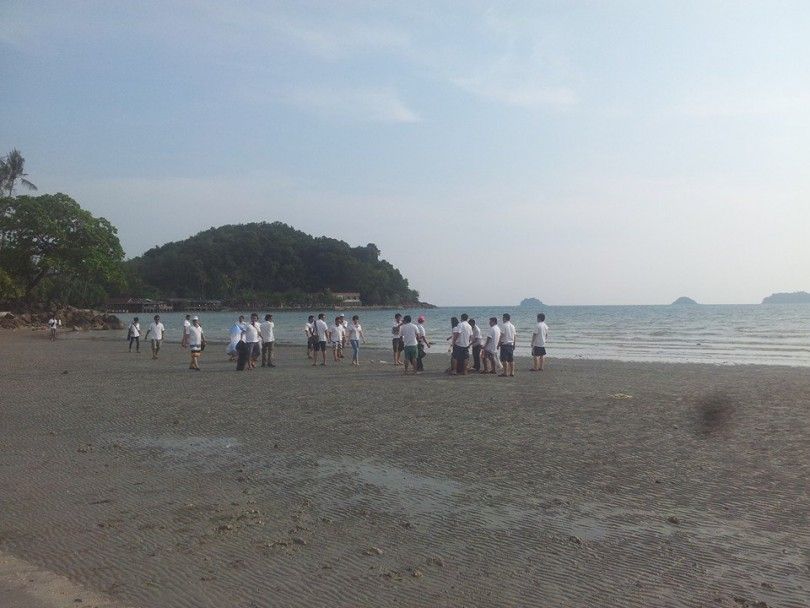 Staged beach cleanup