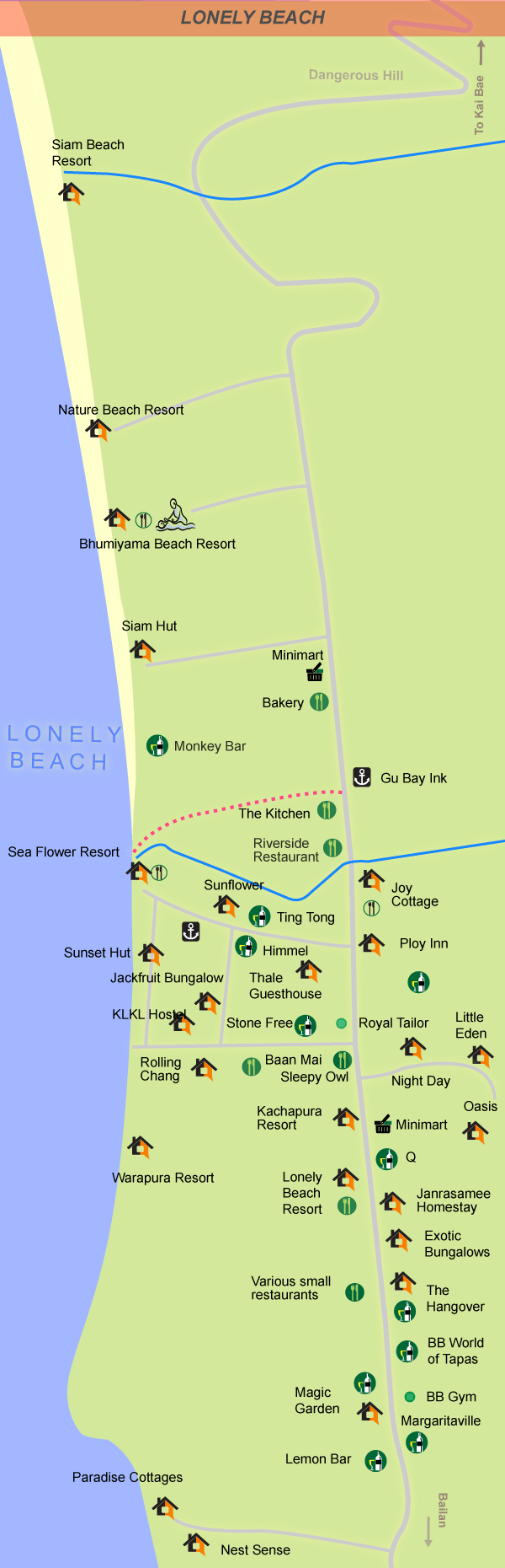 Detailed map of the beach and area