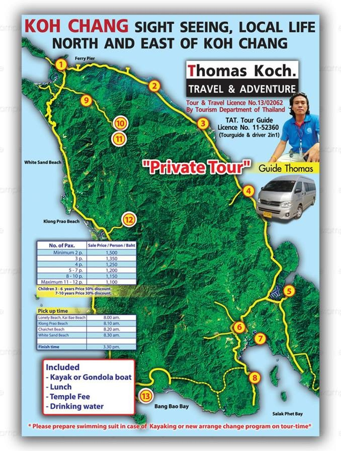 Route for aguided tour of the east coast of Koh Chang