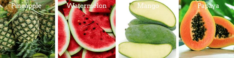 Pineapple, Watermelon, Papaya and Mango