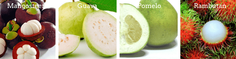 Guava, Mangosteen, pomelo, Rambutan