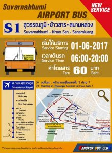 Route map and timetable for bus from Suvarnabhumi Airport to Khao San Road, Bangkok