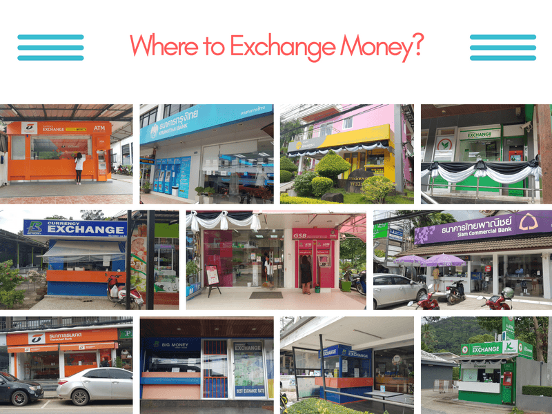 Banks and currency exchanges on Koh Chang island, Thailand