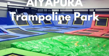 Inside the trampoline park at Aiyapura Resort, Koh Chang