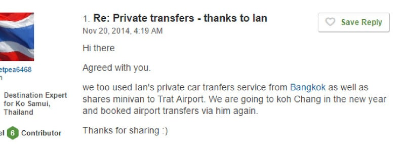 Review of private transfer service from iamkohchang.com