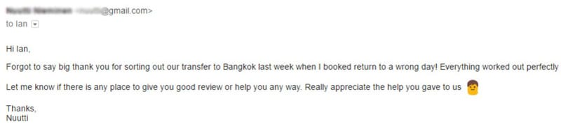 Review of private transfer taxi service from iamkohchang.com