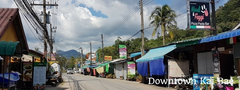 Shops and restaurants on the road in Kai Bae, Koh Chang