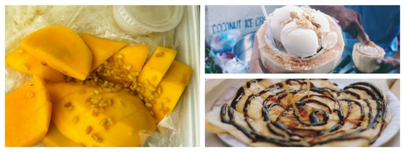 Streetfood desserts - mango and sticky rice, roti and icoconut icre cream