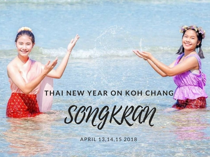 Traditional songkran in the sea on Koh Chang