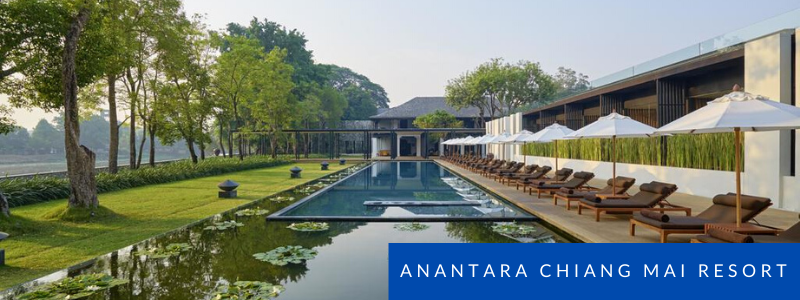 Swimming pool by the river at Anantara Chiang Mai Resort