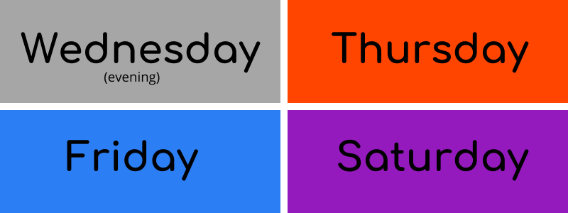 Colors of the Day Wednesday to Saturday