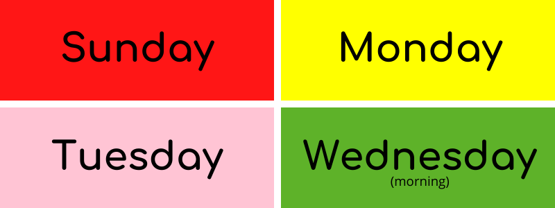 Colors of the Day Sunday to Wednesday